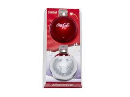 Coca Cola Kerstbal Rood + Zilver (2 stuks)