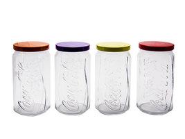 Coca Cola XXL Contour Glazen Set met gekleurde deksel | Set 4 stuks