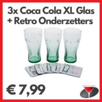 Coca Cola Contour XL Glazen Set (3 stuks) + Coca Cola Retro Onderzetters