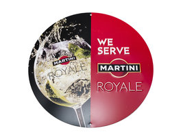 Martini Reclamebord - 'We serve Martini Royale'